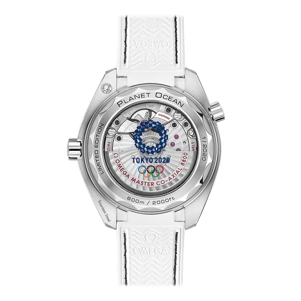 Presented on a white leather strap, the watch features a sapphire crystal caseback with the Tokyo 2020 logo in blue.