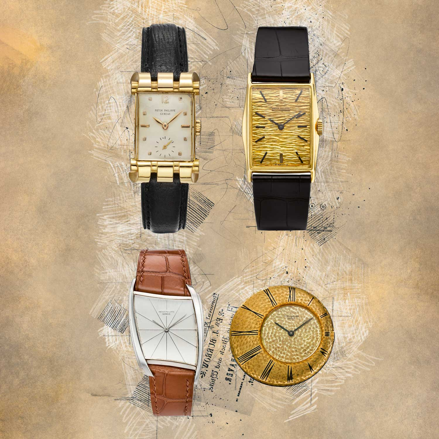 """Patek Philippe ref. 2471, with its """"ram's horns"""" or """"bear claw"""" case made by Markowski; Patek Philippe 18K yellow gold ref. 2554/7J """"Manta Ray,"""" made in 1964; Gilbert Albert's asymmetrical masterpiece, the Patek Philippe ref. 3424P from 1961; Patek Philippe's """"Ricochet"""" pocket watch designed by Gilbert Albert in 1967 (Images: Collectability)"""