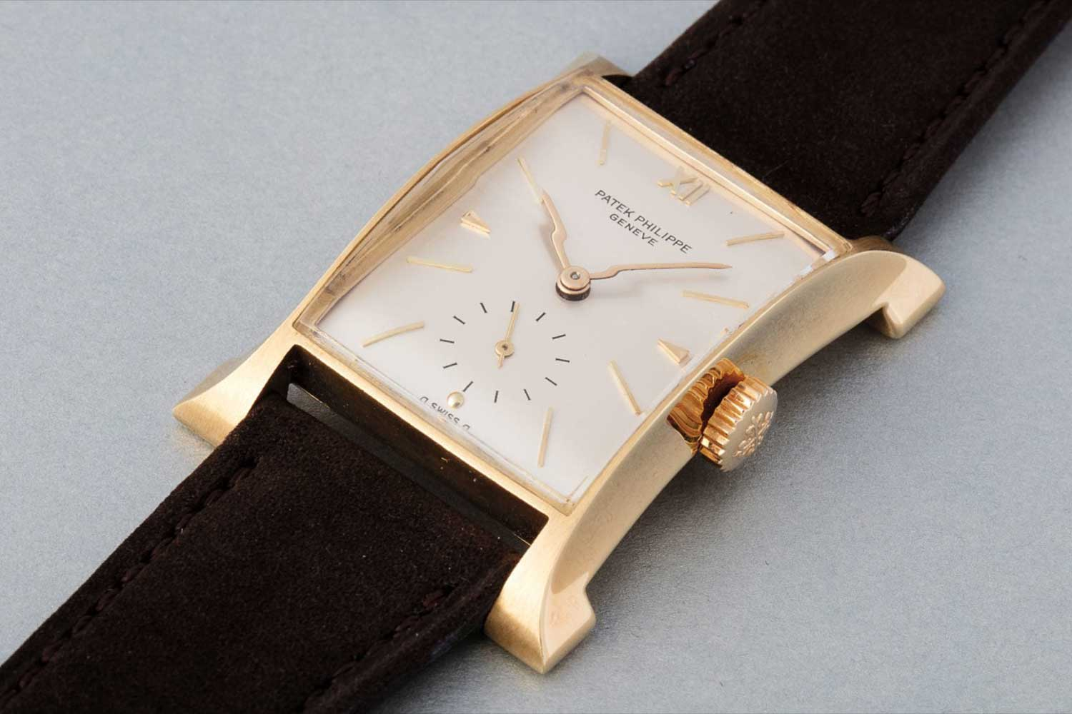 """Patek Philippe made around 200 pieces of the ref. 2441 between 1948 and 1955 200. Often referred to as the """"Eiffel Tower"""" for its distinct flared design,it inspired the design for the 'Pagoda'wristwatch in 1997."""