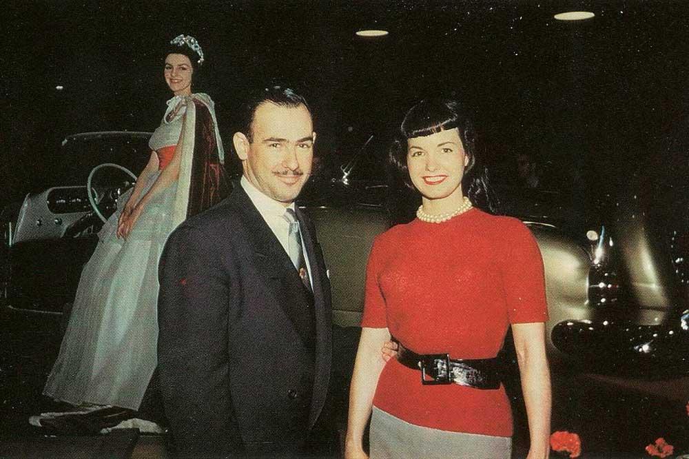 Designer Richard Arbib with American model Bettie Page