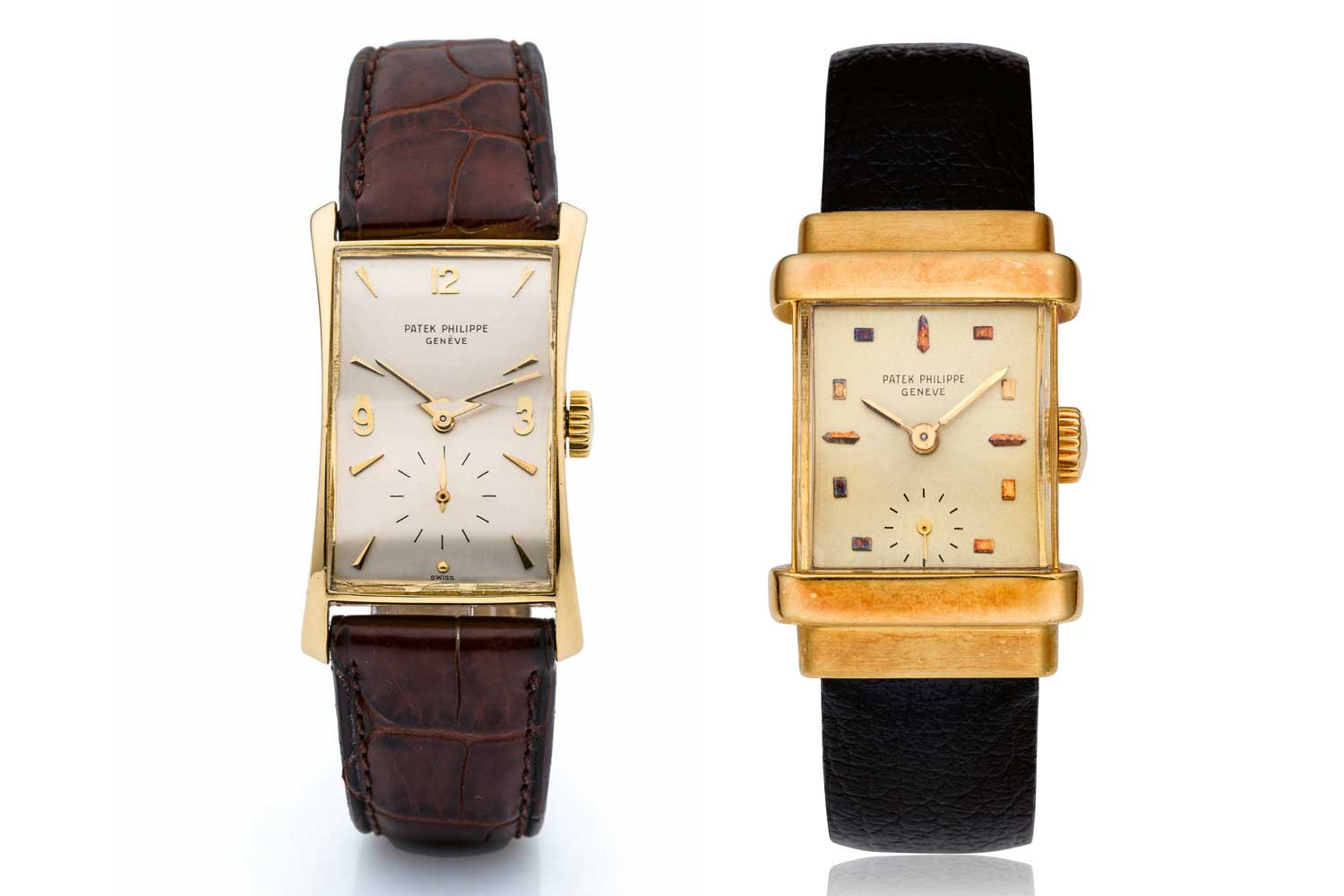 """C. Markowski made some of the most dramatic cases for Patek Philippe. Seen here are the rRef. 1450 or """"Top Hat"""" (left) and ref. 1593 or """"Hourglass"""" (Images: Collectability and Antiquorum)"""
