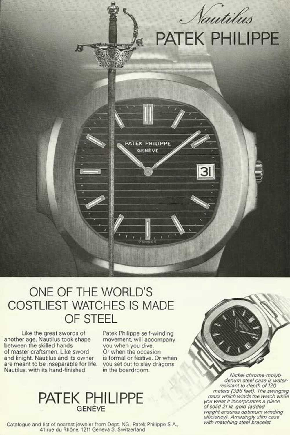 An old ad for Patek Philippe Nautilus ref. 3700