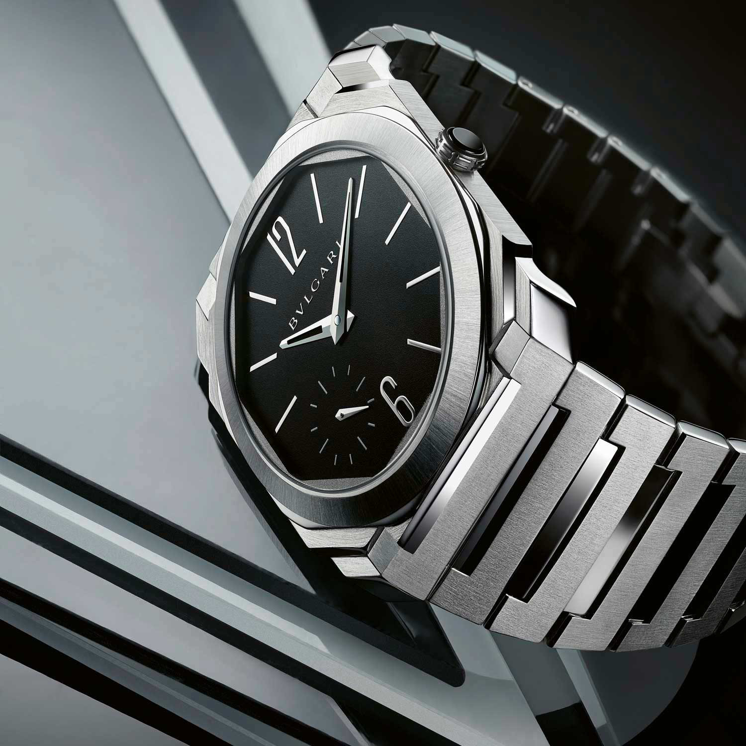 The Bvlgari Octo Finissimo is a contemporary icon in the integrated bracelet, sports chic watch category.