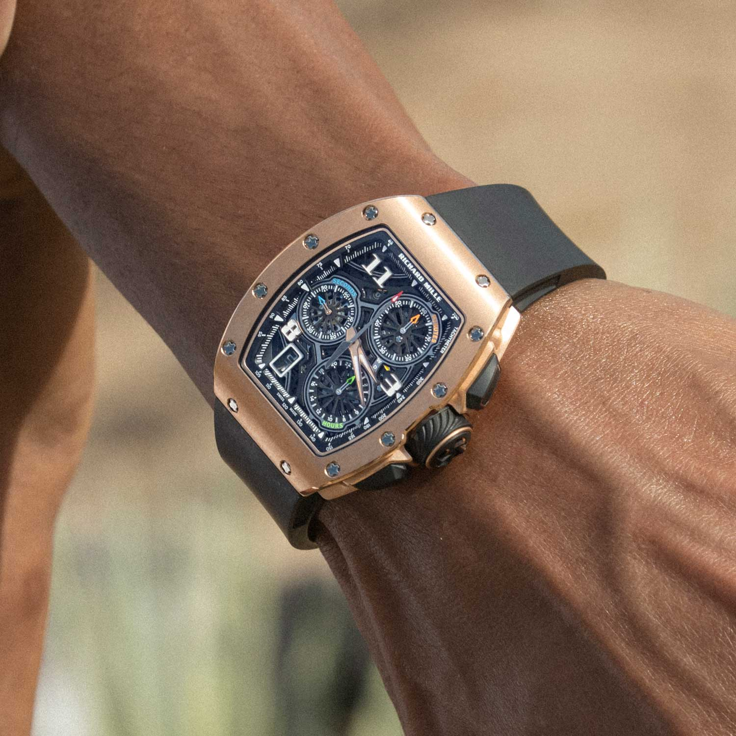 The RM 72-01 Lifestyle Chronograph on the wrist in red gold