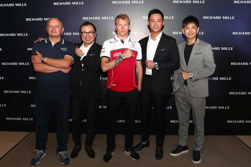 (L-R) Sauber Motorsport AG CEO Frederic Vasseur, Dave Tan of Richard Mille Asia, Kimi Raikkonen, Dave Tan's son, Bryan Tan and Taiwanese singer Jimmy Lin at the Richard Mille - RM 50-04 Kimi Raikkonen Launch on September 18, 2019 in Singapore (Image: Getty Images)