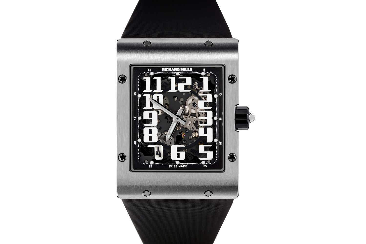 The Richard Mille RM 016 is a watch with a 38mm wide and 49.8mm long curved rectangular case that is a scant 8.25mm thick