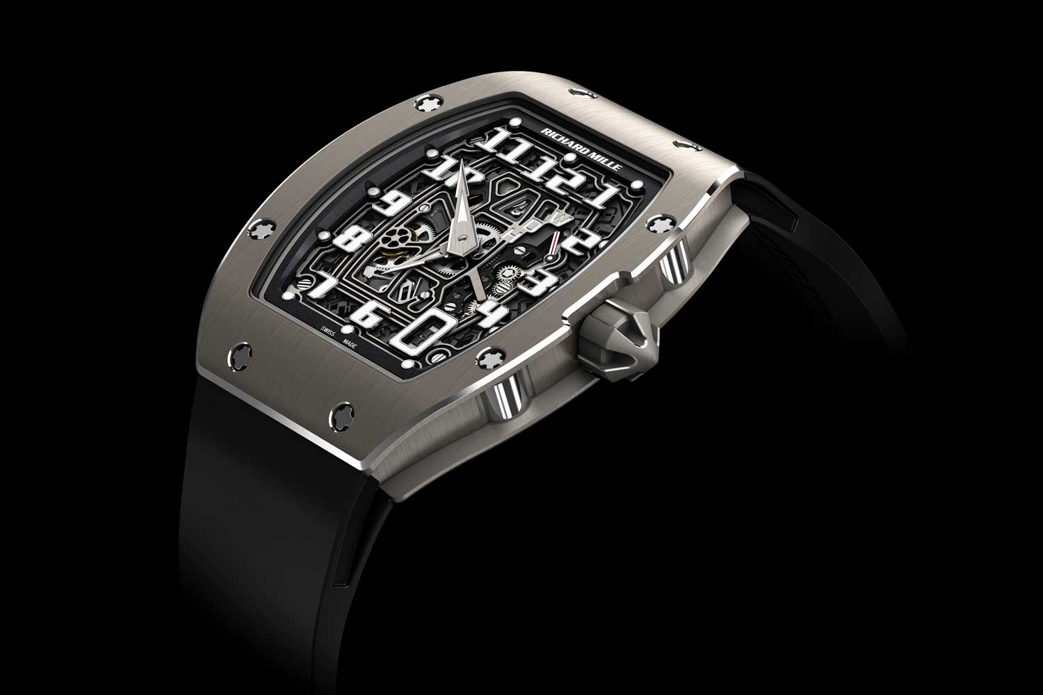 The RM 67-01 was Richard Mille's first extra thin tonneau-shaped watch powered by an all-new, in-house automatic movement, the platinum rotor equipped CRMA6, which measures 3.6mm high; the watch itself is thereafter, 7.75mm high