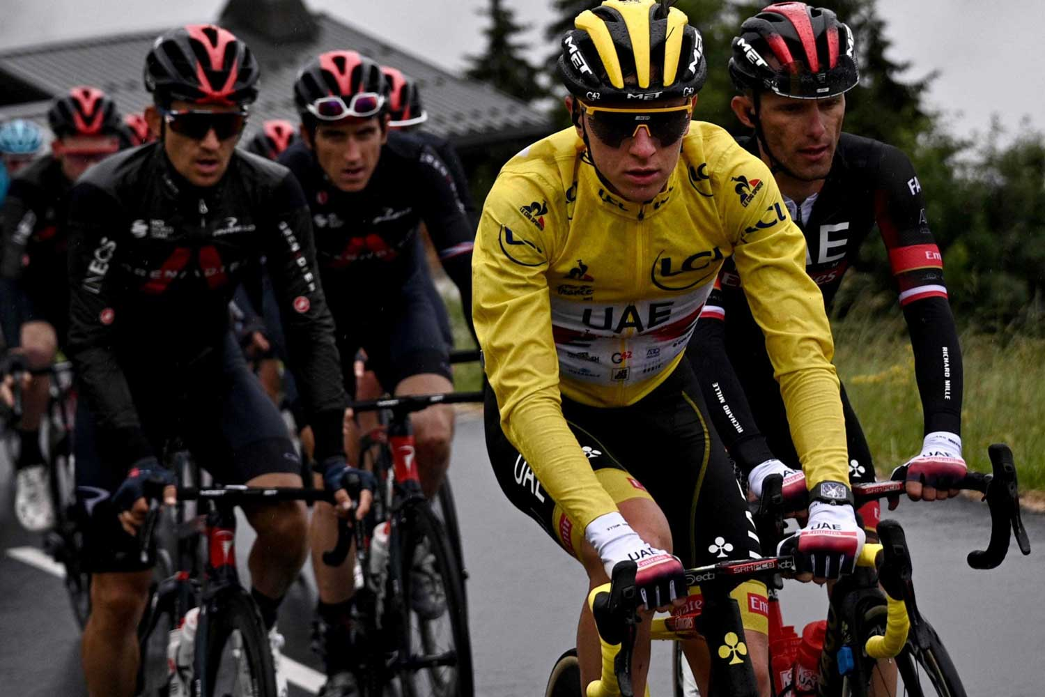 UAE cyclist, Tadej Pogačar w,inner of Tour de France 2020, leading out in front in yellow at Tour de France 2021 (Image: Getty)