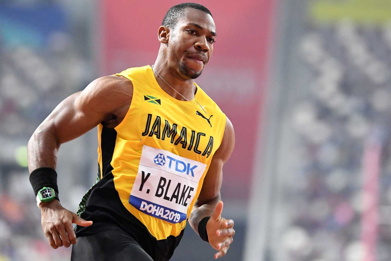Jamaica's Yohan Blake competes in the Men's 100m heats at the 2019 IAAF World Athletics Championships at the Khalifa International stadium in Doha on September 27, 2019. (Photo by Jewel SAMAD / AFP) (Photo credit should read JEWEL SAMAD/AFP via Getty Images)