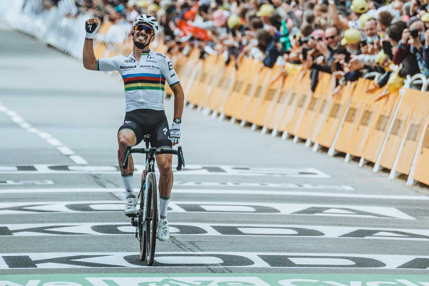 French cyclist, Julian Alaphilippe at the finish line as he secures Stage 1 at the Tudor de France 2021 (Image: cyclist.co.uk)