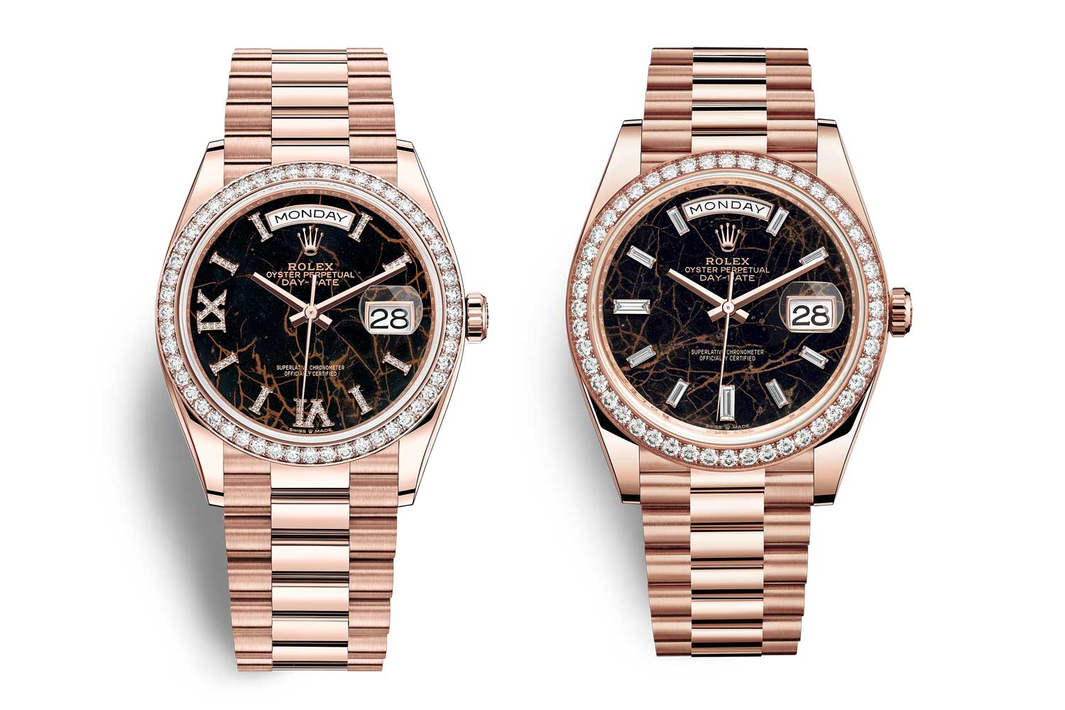 Seen here are the 36 and 40mm version of the 2021 eisenkiesel stone dial Day-Dates with diamond set bezels