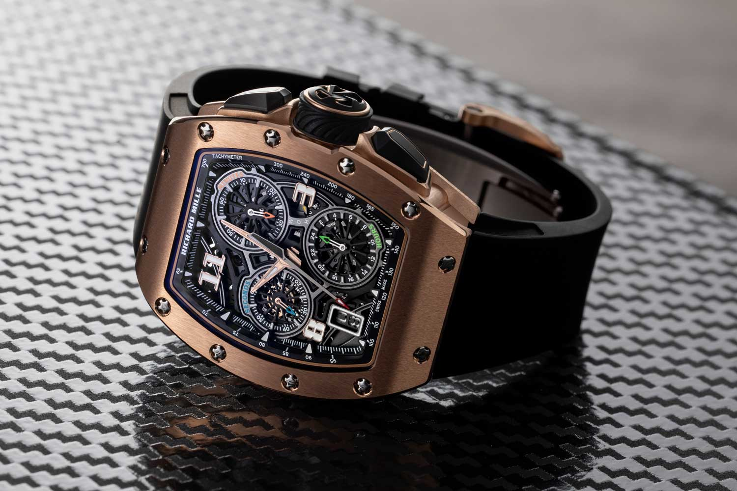 Launched in late 2020, the RM 72-01 looks like your typical hyper dynamic Richard Mille watch that radiates futurist machine tech energy from 100 meters (©Revolution)