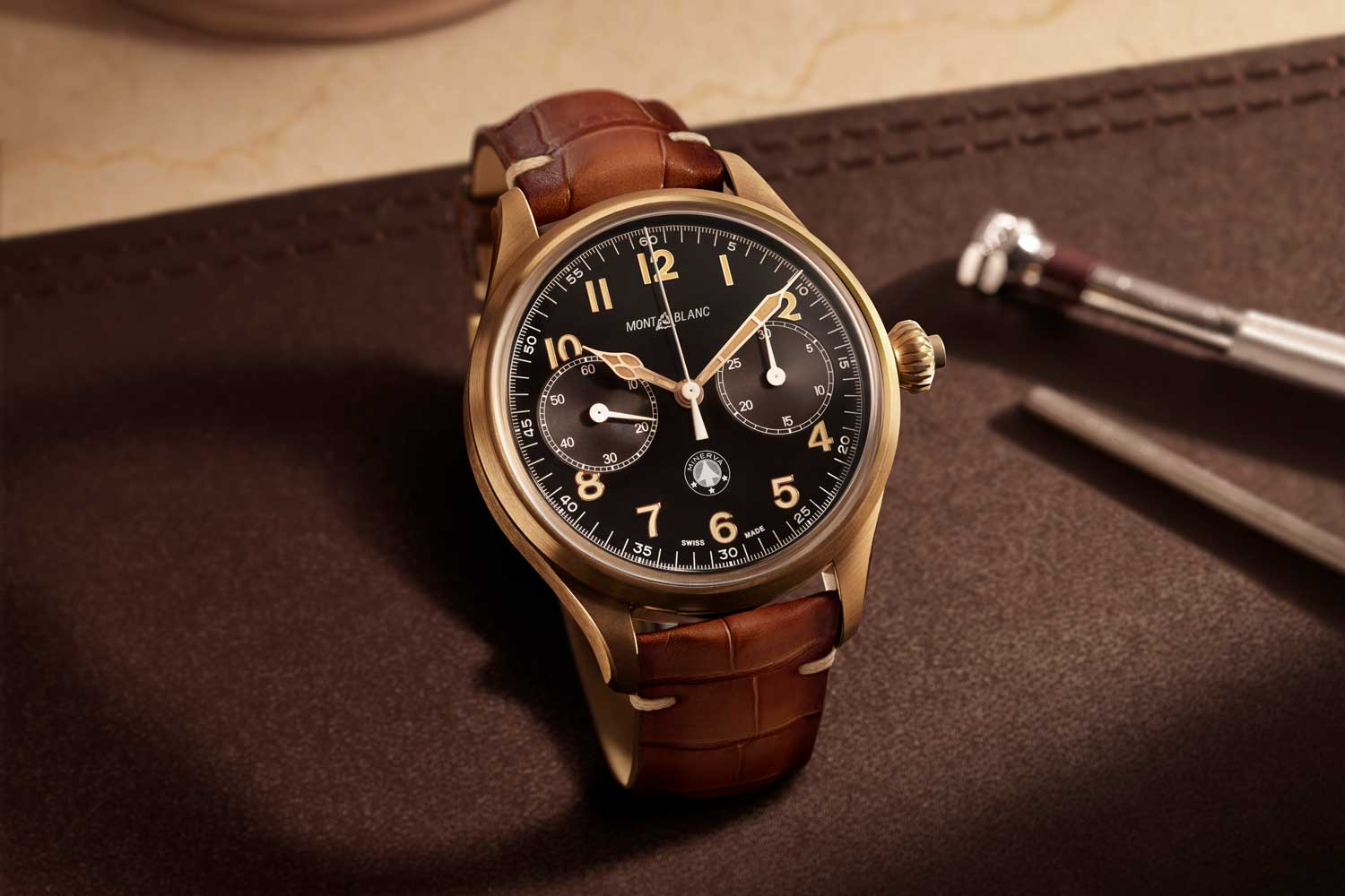 The Montblanc 1858 Monopusher Chronograph Origins Limited Edition 100 is rendered in bronze with brushed surfaces and polished bevels