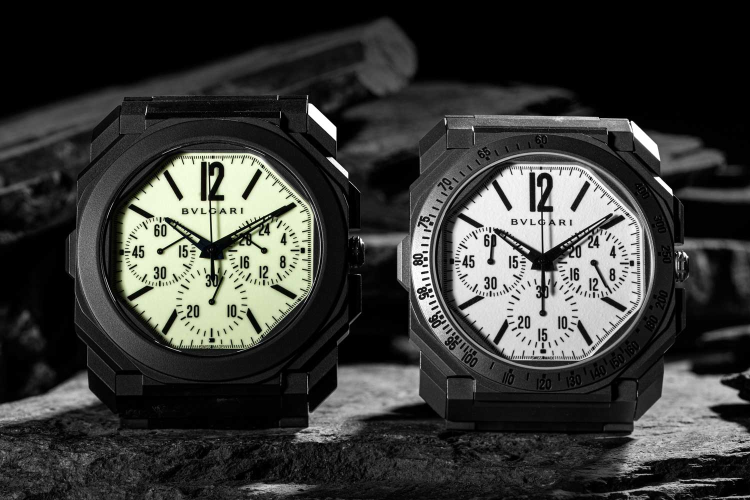 """Bvlgari Octo Finissimo Ceramic Chronograph GMT """"Nuclear Option"""" for Revolution and The Rake (left) and Bvlgari Octo Finissimo Chronograph GMT """"White Light'' launched in 2020. (© Revolution)"""