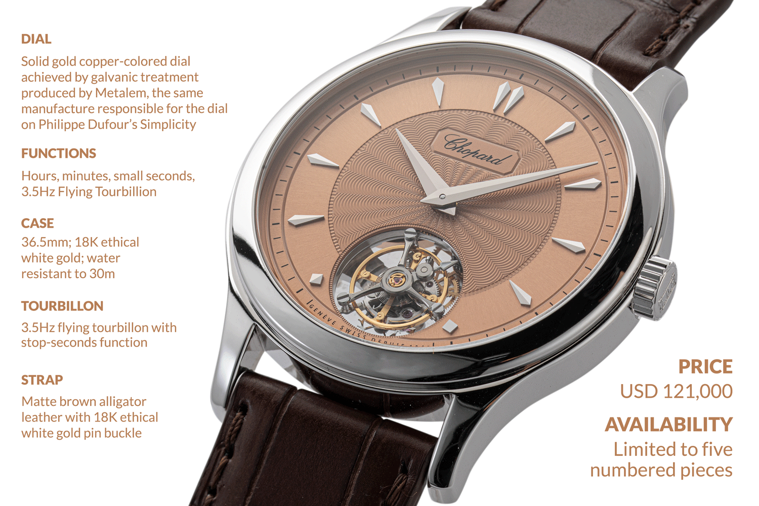 The 36.5 mm in diameter and 8.2 mm in height, Chopard L.U.C 1860 Flying T, Special Revolution (©Revolution)