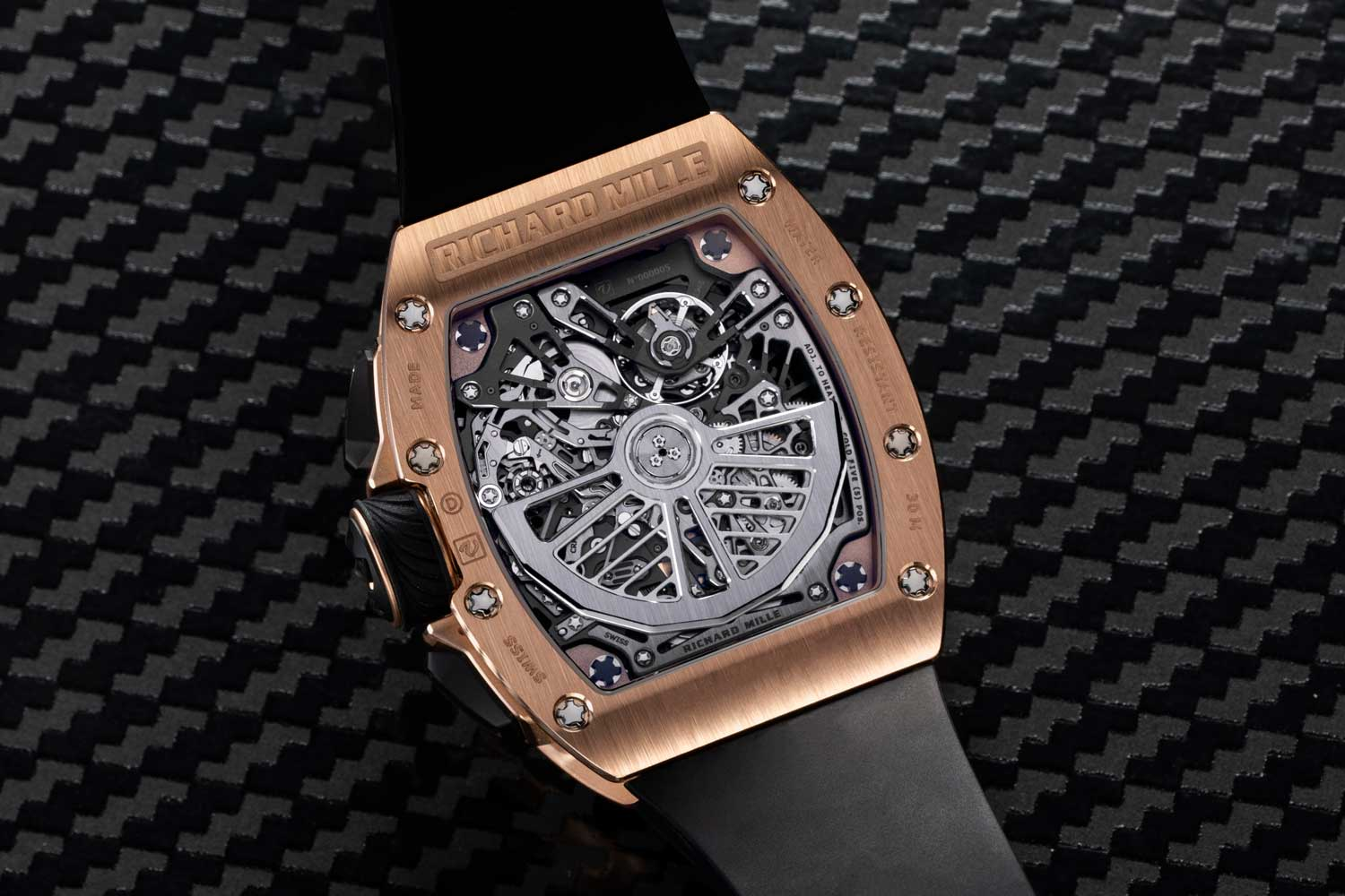 The RM 72-01 is powered by the CRMC1 movement (Caliber Richard Mille Chronograph 1), which also happens to be Richard Mille's full in-house movement and the world's first chronograph movement with two oscillating pinions (©Revolution)