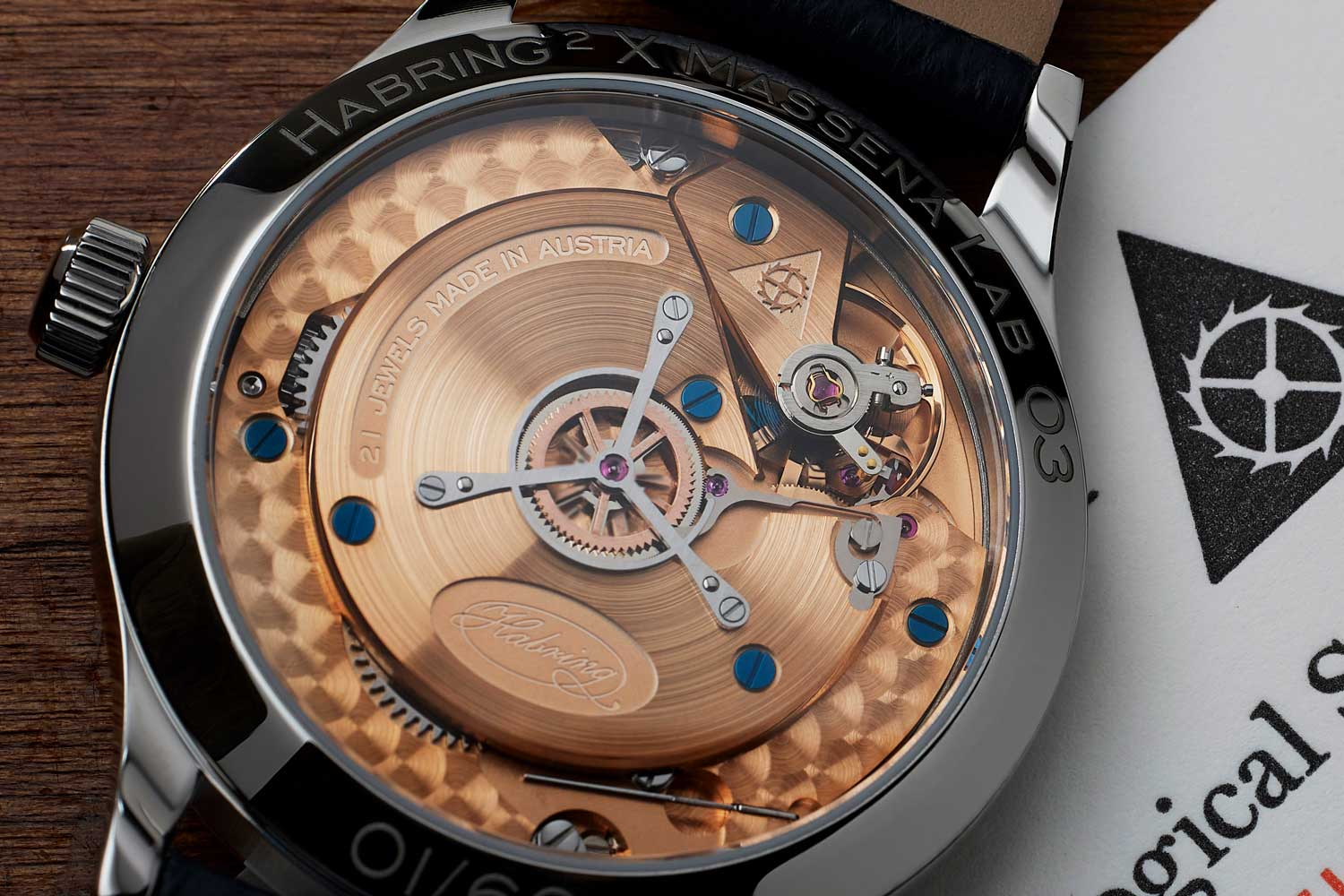 The watch is powered by Habring2's own A11MS, a hand-wound calibre with 48 hours of wind and dead-beats seconds.