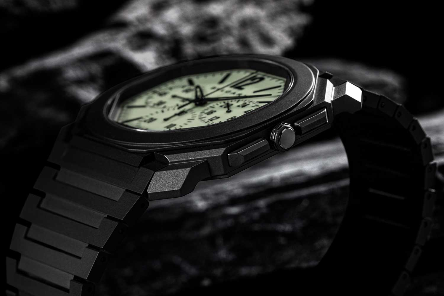 """Presented on a 43mm black ceramic case, the Bvlgari Octo Finissimo Ceramic Chronograph GMT """"Nuclear Option '' is equipped with calibre BVL 318 with a 55-hour power reserve. (© Revolution)"""