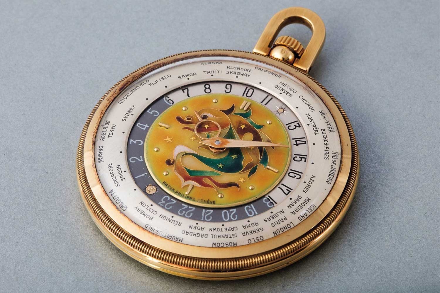 Patek Philippe ref. 605 HU with a cloisonné enamel dial depicting a mythical Dragon (Image: Phillips)