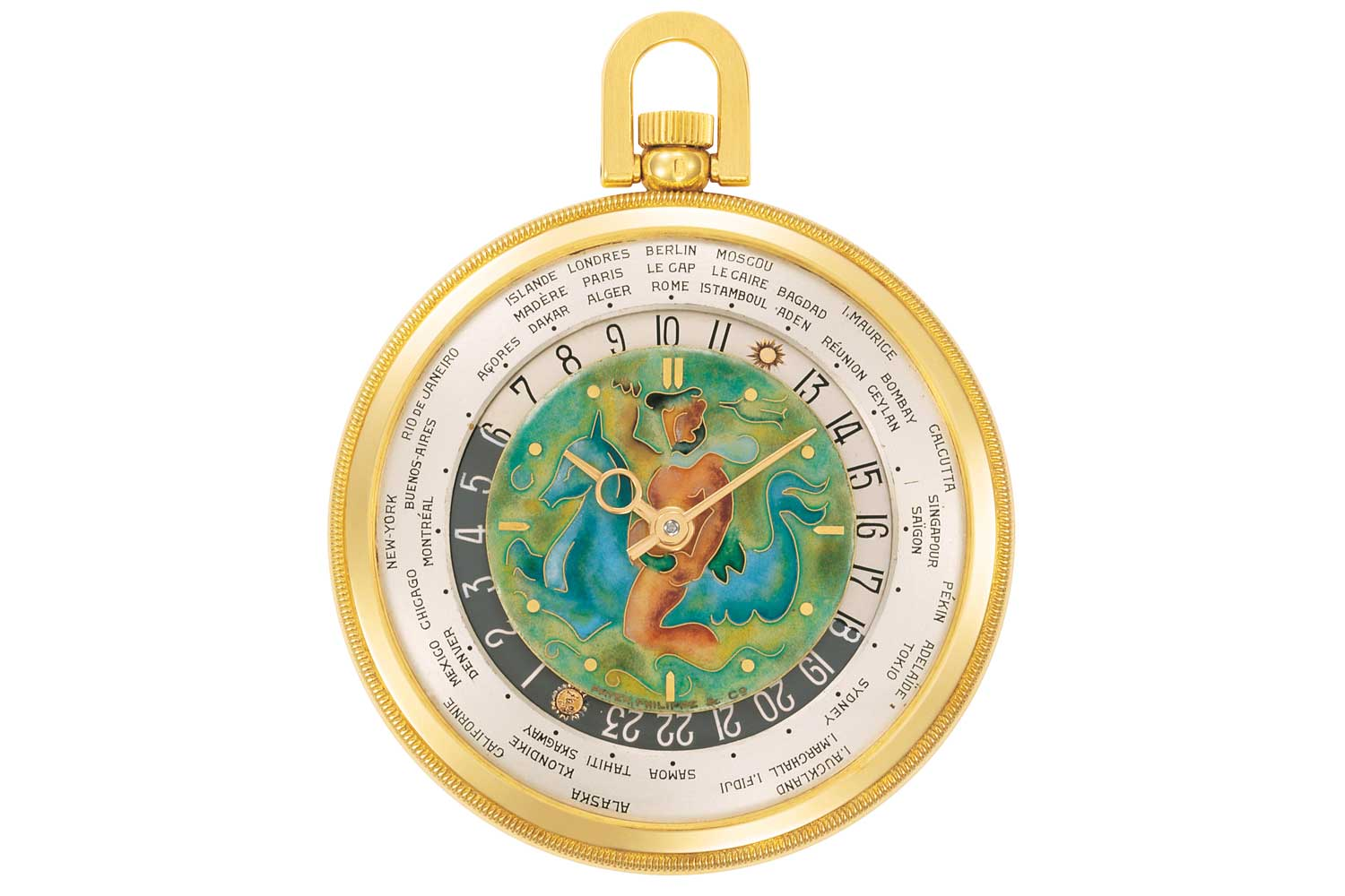 The reference 605 was the first Patek Philippe to begin the tradition of cloisonné enamel dials, often bearing maps, that continues to this day. (Image: Patek Philippe)