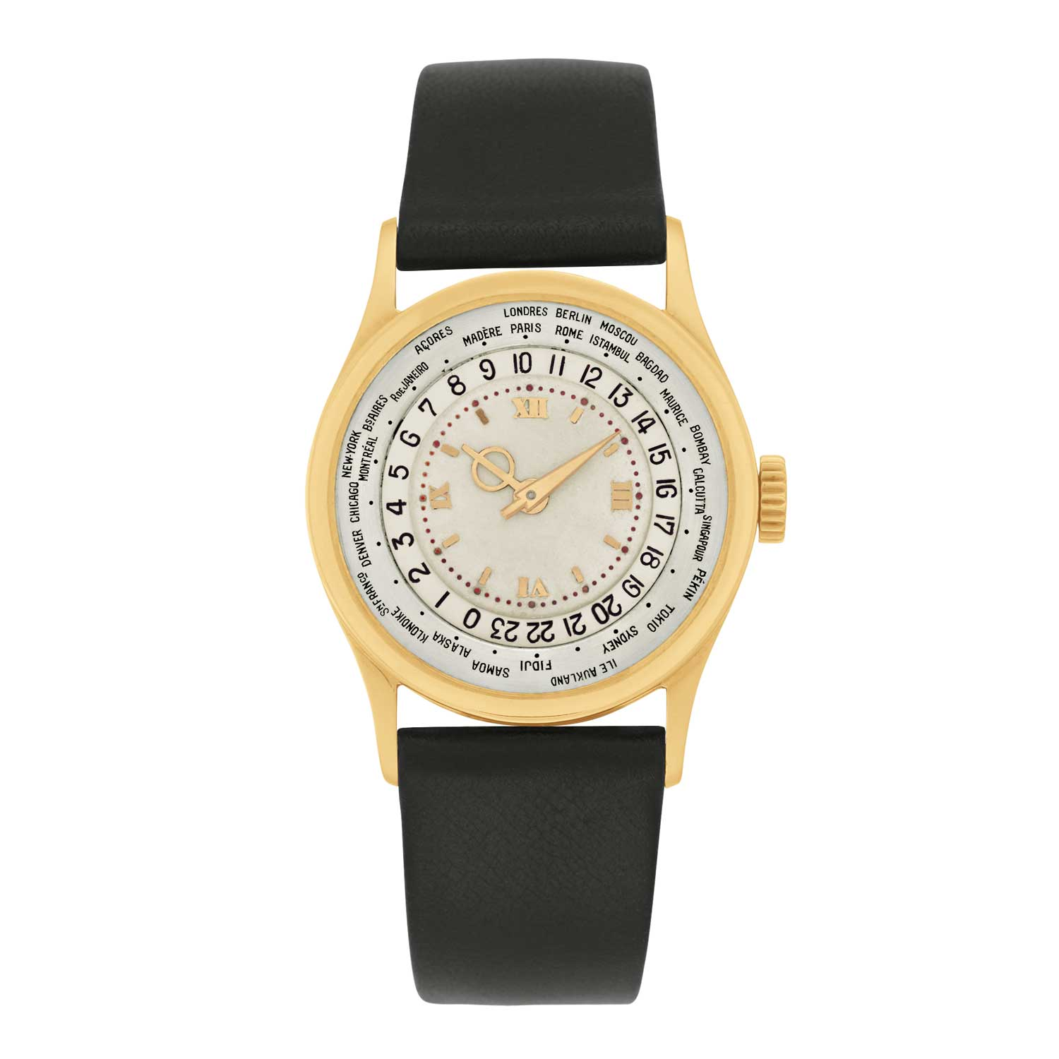 Patek Philippe ref. 96 HU has the names of 28 cities on a ring around the dial.
