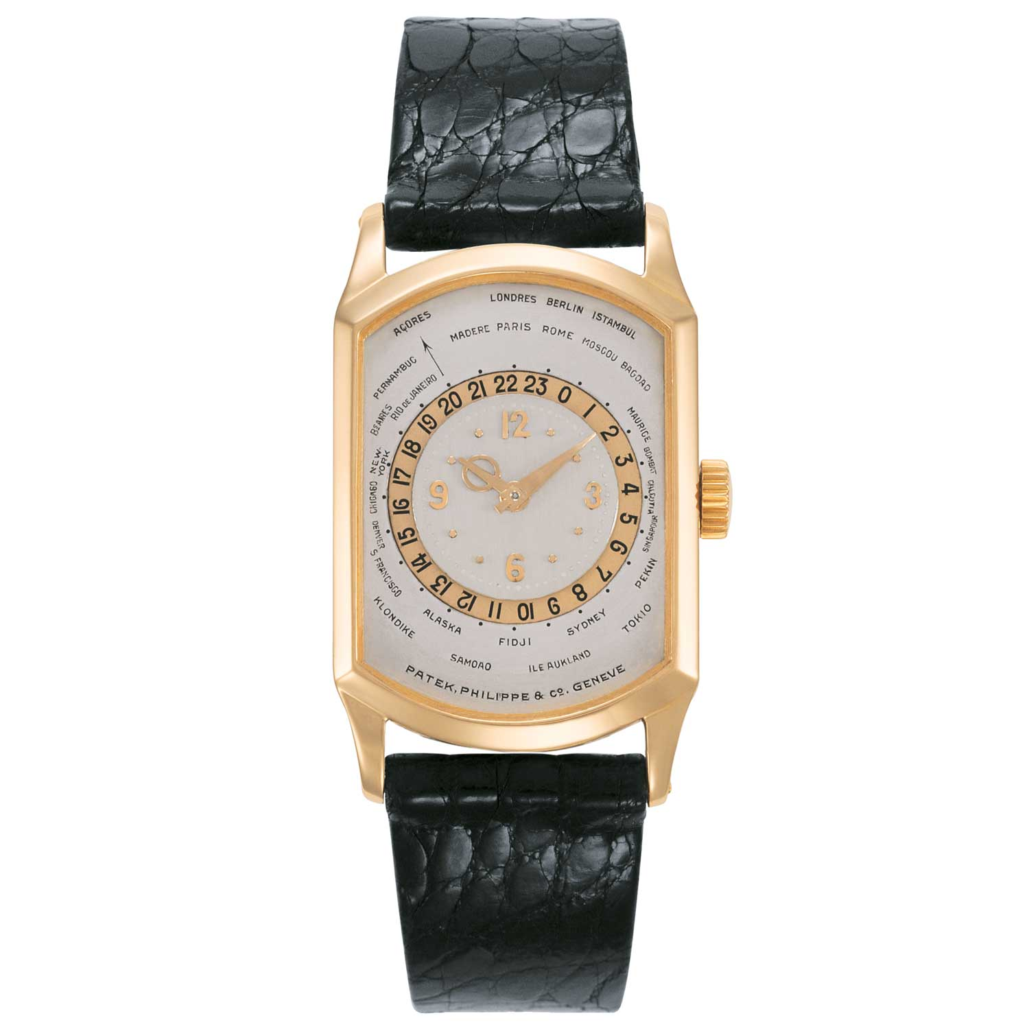 Made in 1937,the Patek Philippe ref. 515HU features a surprising and super elegant rose gold shaped rectangular case.