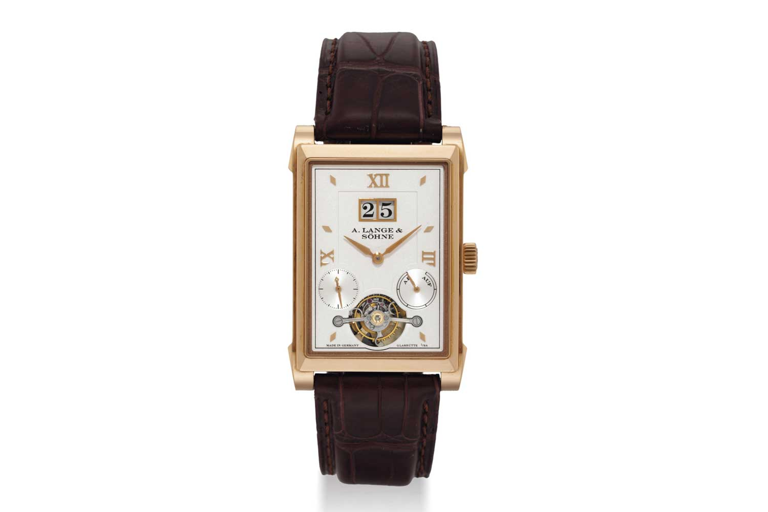 A. Lange & Söhne launched the Cabaret Tourbillon in 2008, in pink gold and platinum, and with it the calibre L042.1 which showcased Lange's one-minute tourbillon with a patented stop seconds mechanism (Image: christies.com)