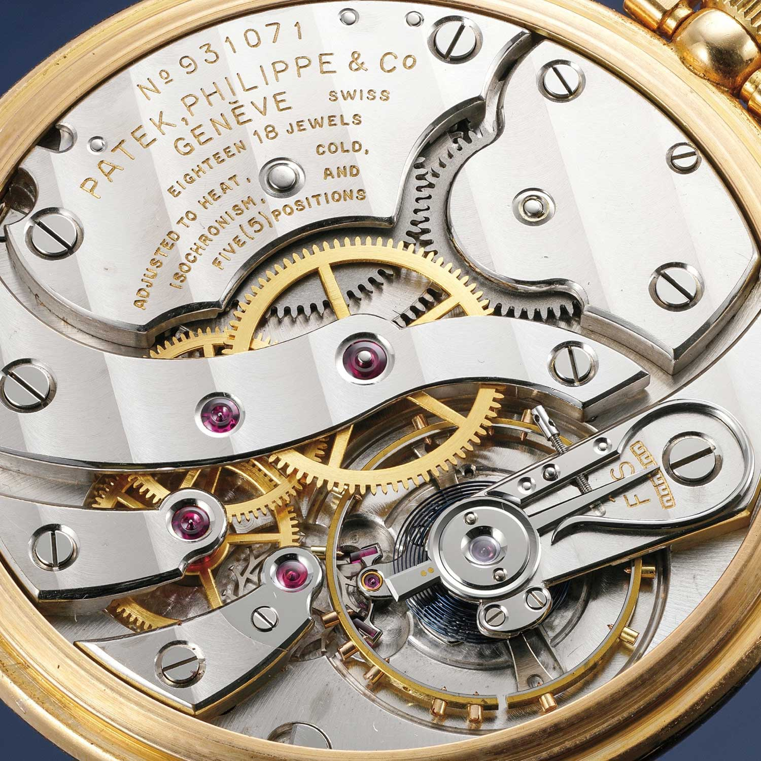 1937 onwards, for a total of 20 years, Cottier created around 90 605 HU World Time pocket watch movements. Seen here is the caliber 17-170HU which is the Cottier complication built on top of a 17 ligne Patek pocket watch caliber. (Image: Phillips)