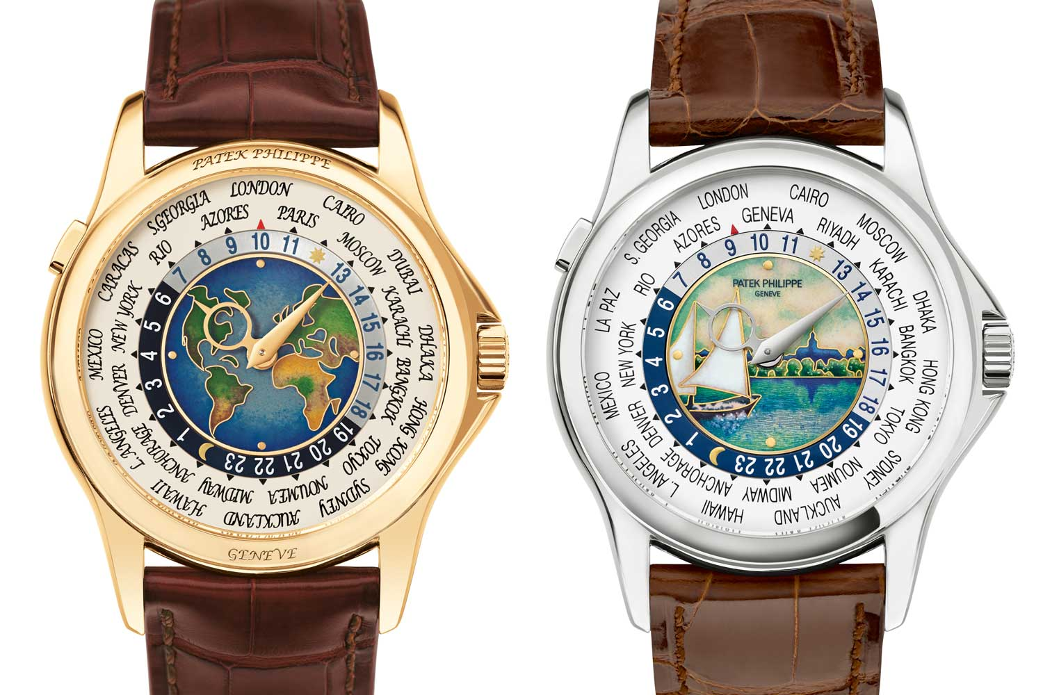 The 5131 was initially introduced in two stunning versions, a yellow gold watch with a map of North and South America, Europe and Africa, and a white gold version with a map of Africa, Europe, Asia and Australia. (Images: Patek Philippe)