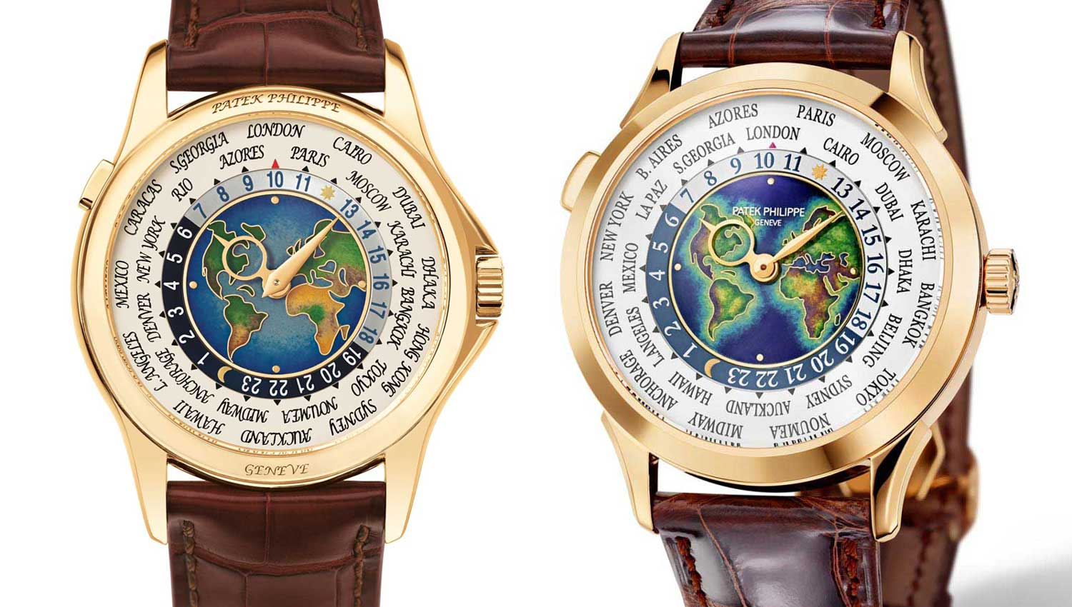 The Patek Philippe signature on the ref. 5231 (right) is painted onto the enamel surface, whereas in the previous ref. 5131 (left) the signature had been engraved onto the bezel, which was somewhat controversially received. The 5231 also has a larger flat bezel along with faceted lugs that are reminiscent of the 2523.