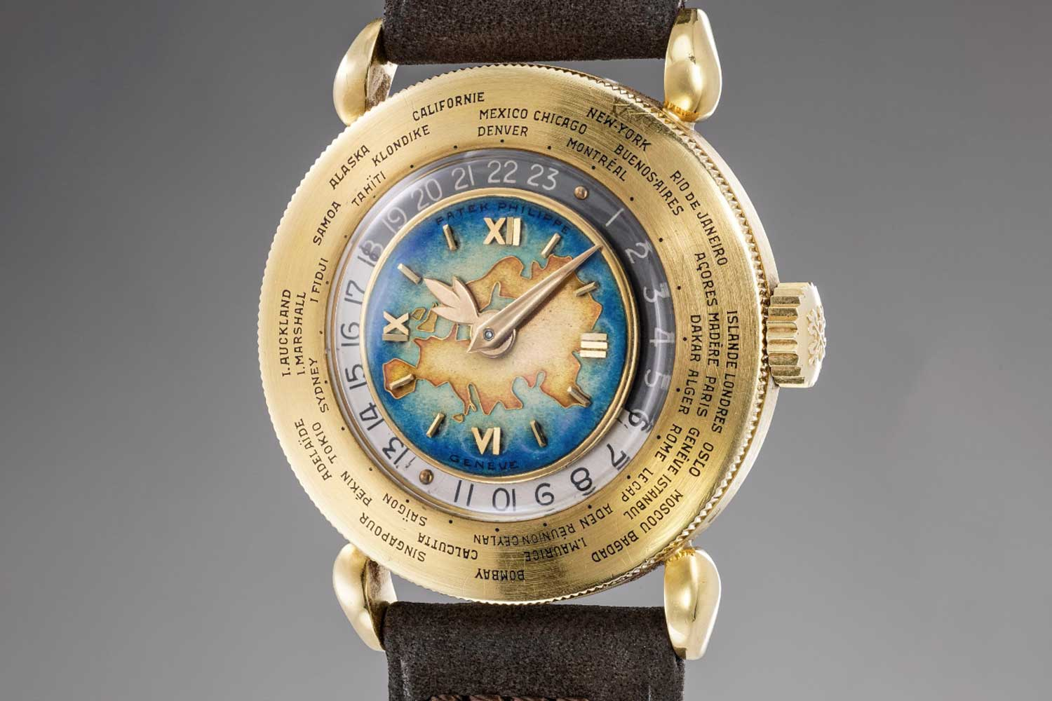 """Most of the references 1415 with cloisonné enamel dials feature the European continent with only two known examples featuring a Euro-Asian or """"Eurasia"""" map. Seen here is a rare example of the """"Eurasia"""" polychrome cloisonné enamel dial ref. 1415 sold by Phillips in 2018 (image: Phillips)"""