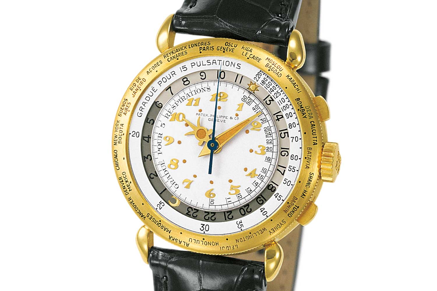 The minute hand and dots around the inner dial and the centre of the sunray motif hour hand on ref. 1415-1 are luminous