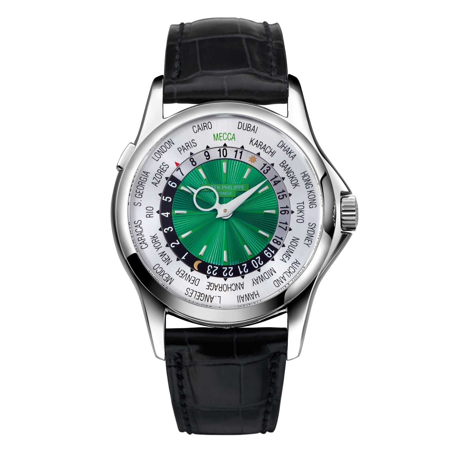 """The ref. 5130P """"Mecca"""" in platinum with a green dial"""