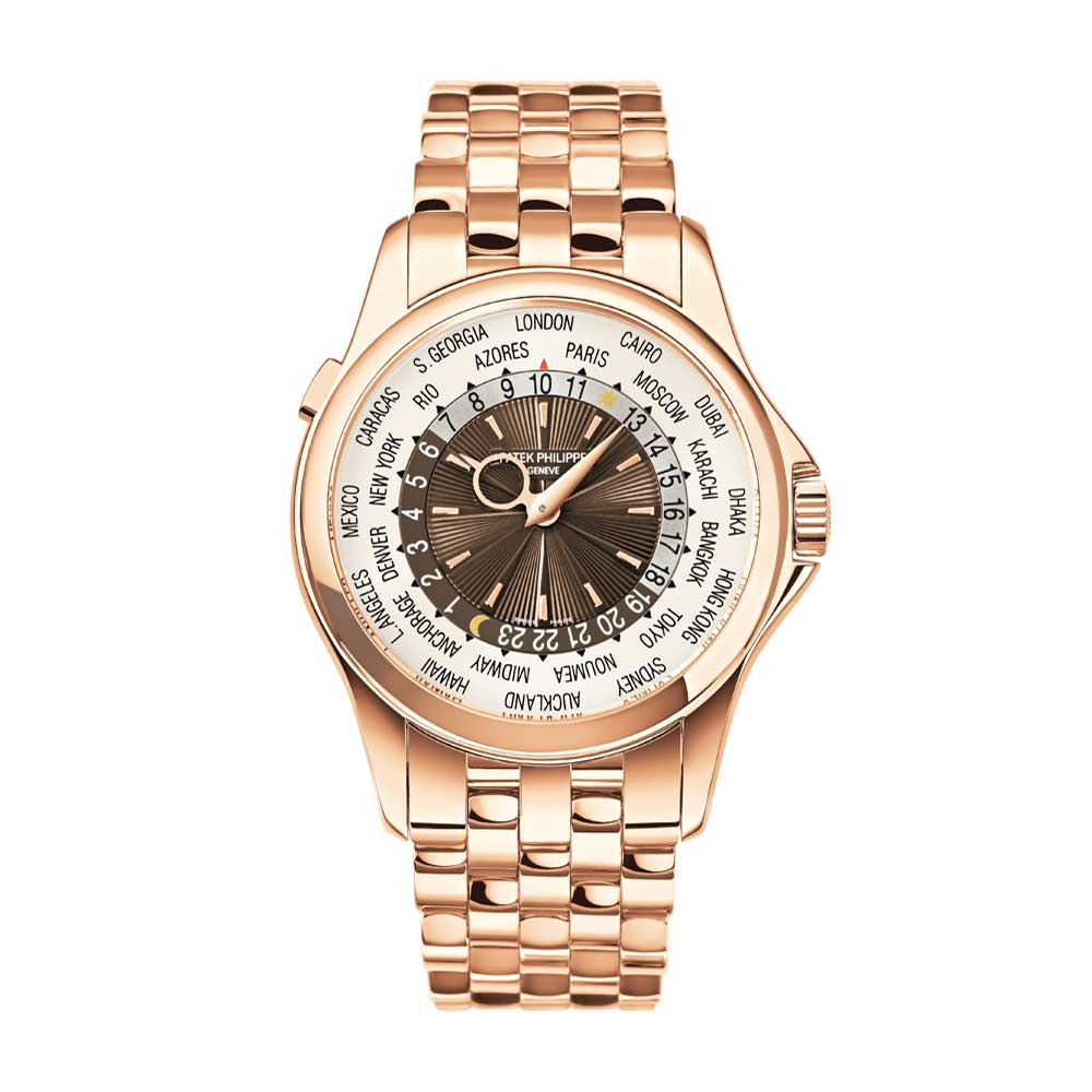 The ref. 5130/1R-001 launched in 2012 features a brown dial combined with a rose gold brick bracelet