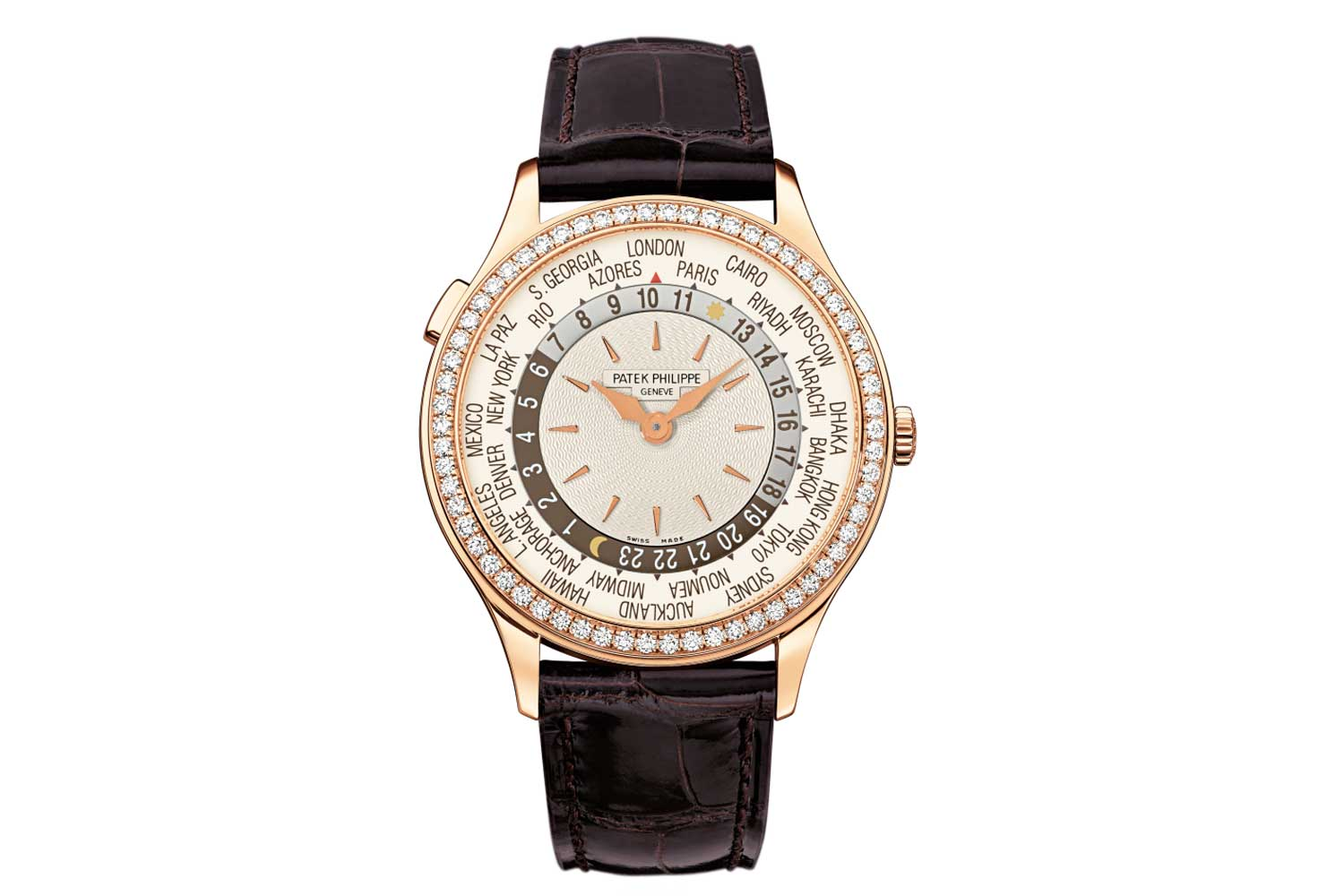 The first version of ref. 7130 with a rose gold case, an ivory hand-guilloché dial and a warm brown 24-hour ring and matching brown print on the city disk. (Image: Patek Philippe)