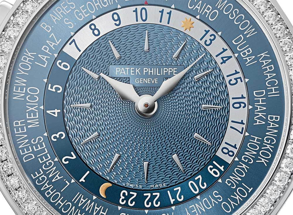 Patek Philippe ref. 7130G in white gold with a truly stunning guilloché pattern on its resplendent gray blue inner dial (image: Patek Philippe)