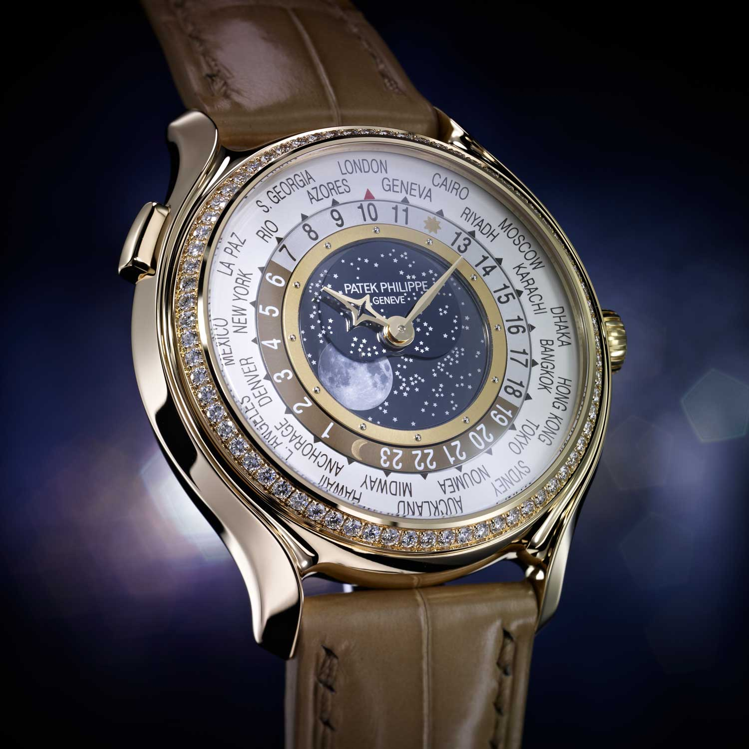 Launched as part of Patek Philippe's 175th anniversary celebrations, the ref. 7175 had a 38mm rose gold case and its dial presented a hyper realistic moonphase (Image: Patek Philippe)