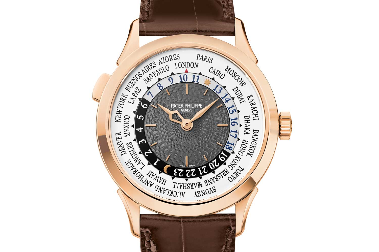 The watch's dial featured the most elaborate guilloché pattern yet with subtle waves radiating from the cannon pinion, abbreviated by appealing and original flat, wide teardrop shaped elements. (Image: Patek Philippe)