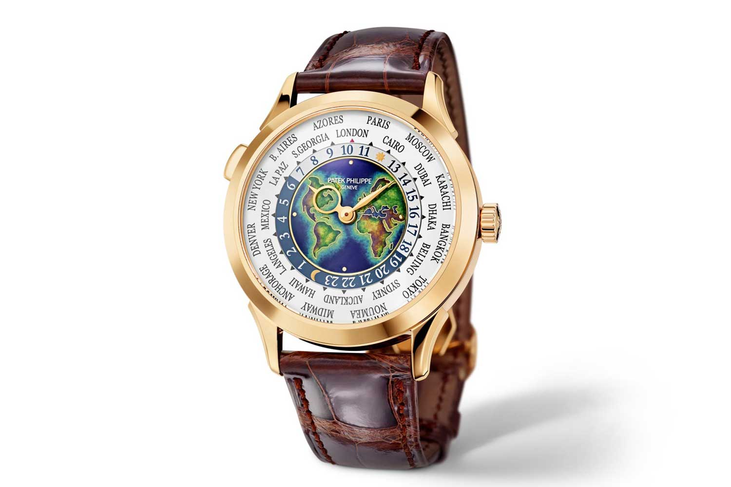 Patek Philippe Reference 5231J World Time with a cloisonné enamel world map on the dial