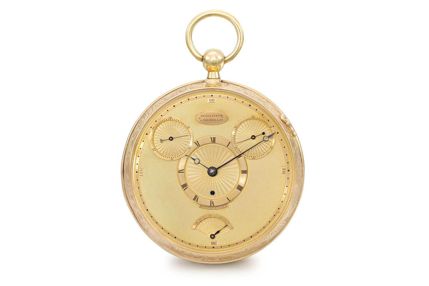 Abraham-Louis Breguet's very first four-minute tourbillon and his third tourbillon watch ever made, best known as the no°1176, the timepiece is an 18K gold openface pocket chronometer with four minute tourbillon, échappement naturel, double subsidiary seconds, power reserve, stop-seconds feature and gold regulator dial; signed Breguet et Fils, No. 1176, case no. 1282, sold to Comte Potocki through Monsieur Moreau in St. Petersburg on 12 February 1809 for the sum of 4,600 Francs (Image: breguet.com)