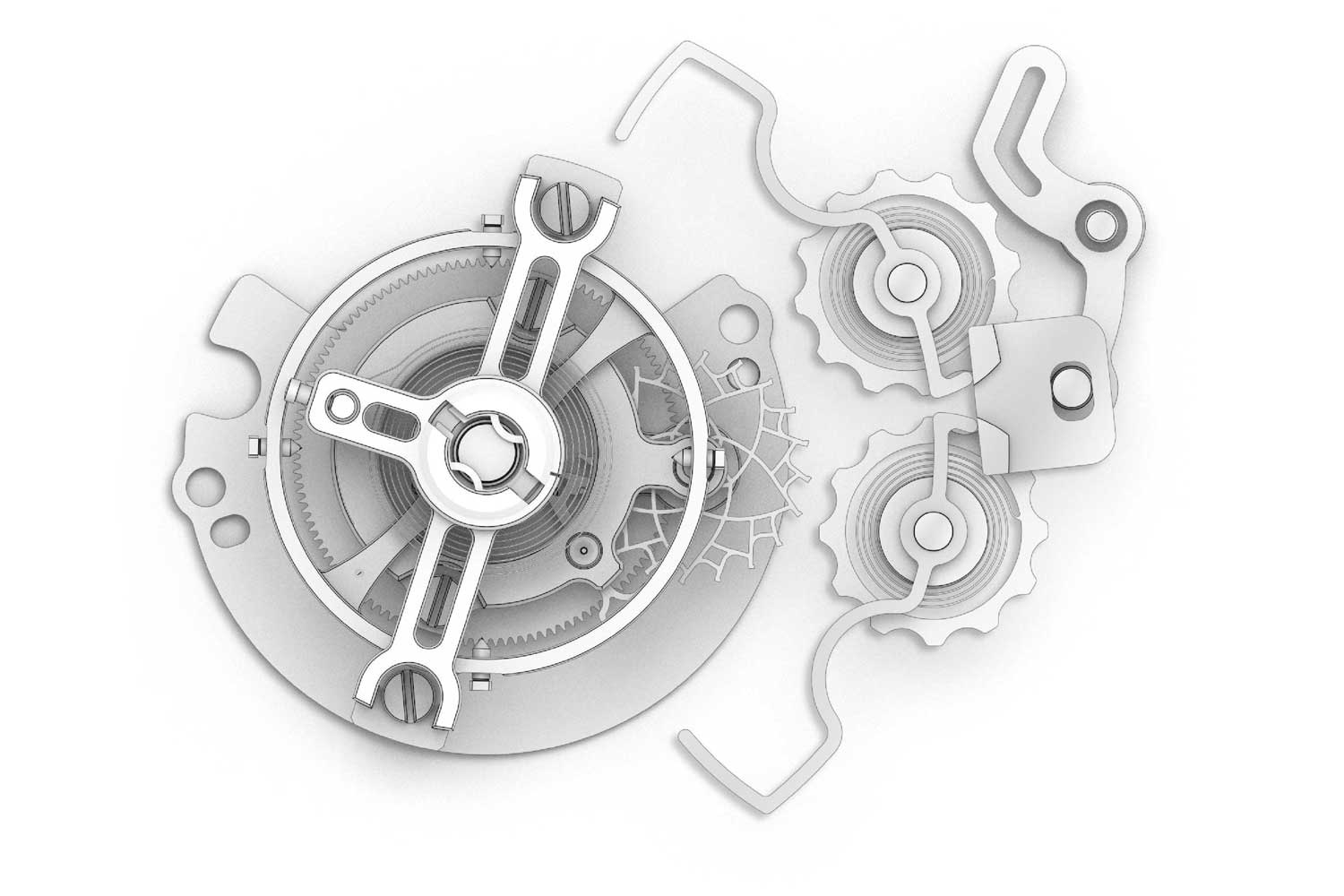IWC's take on the stop-seconds tourbillon mechanism works as such: When the crown is pulled out, the mechanism is stopped by two levers that grip the balance rim like a set of pliers (Image: IWC Schaffhausen)