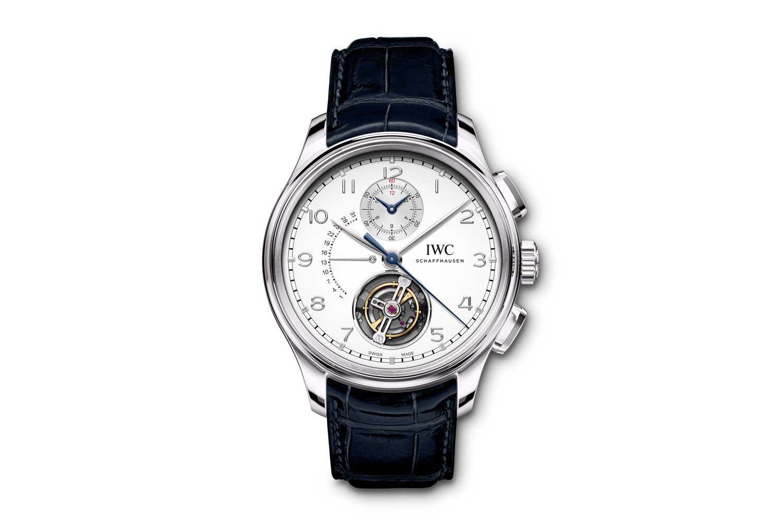 The Portugieser Chronograph Tourbillon Retrograde is an instance of IWC tourbillon wristwatches that uses the brand's own take on the stop-seconds tourbillon mechanism (Image: IWC Schaffhausen)
