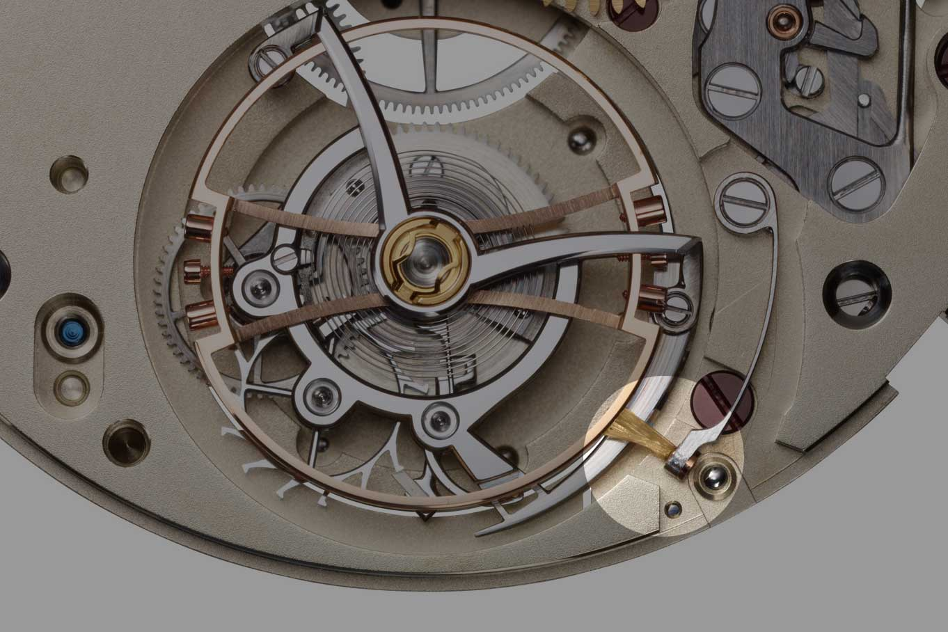 The small bunch of human hairs obtained from the head of brand CEO, Ms Christine Hutter used to arrest the balance wheel on the Moritz Grossmann Benu Tourbillon (Image: Moritz Grossmann)