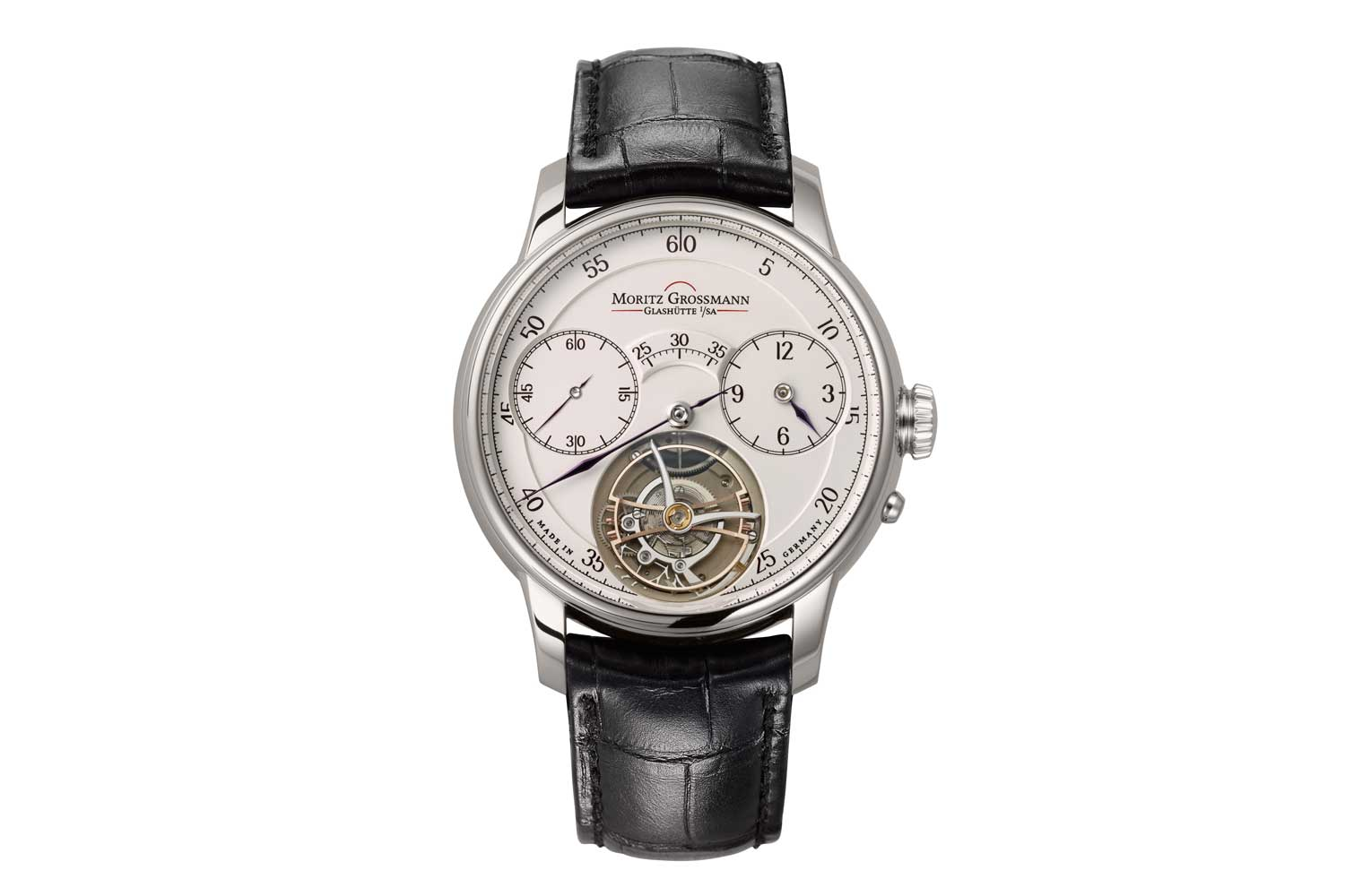 The Moritz Grossmann Benu Tourbillon is equipped with a stop seconds mechanism that uses a small bunch of human hairs obtained from the head of the head of the brand, Ms Christine Hutter (Image: Moritz Grossmann)