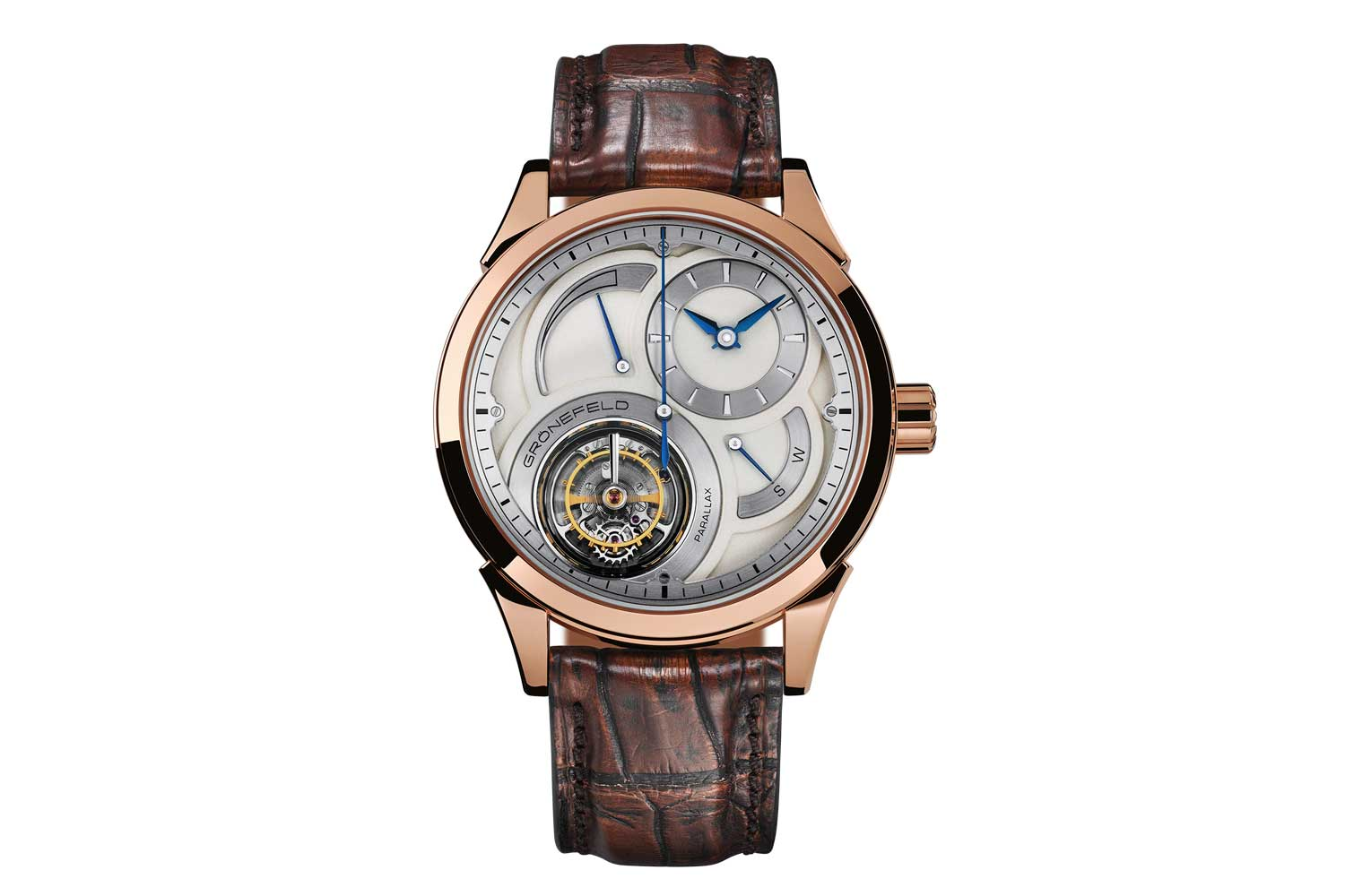 """The Grönefeld Parallax tourbillon features a """"flying"""" tourbillon with a large central seconds hand, stop seconds, power reserve indicator (Image: Grönefeld)"""