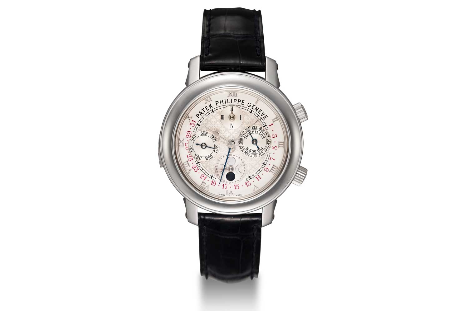 Patek Philippe made no compromises in having its tourbillon watches COSC certified, this even applied to the grand complications such as the ref. 5002 Sky Moon Tourbillon, seen here in platinum (Image: christies.com)