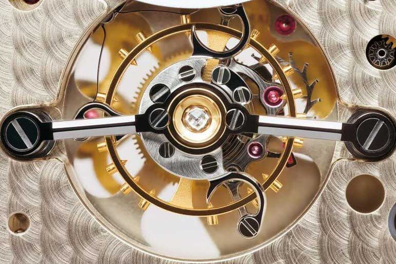 The stop lever mechanism used by Lange to stop the tourbillon balance wheel when the crown is pulled out (Image: langepedia.com)
