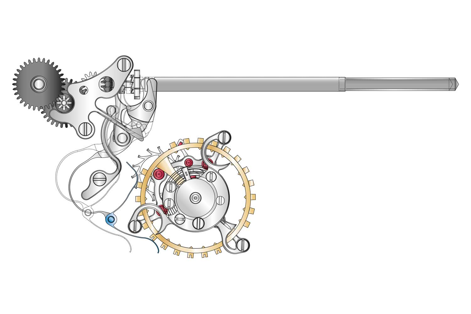 A graphic representation of how the Lange stop seconds mechanism works on the tourbillon by directly acting on the balance bridge (Image: A. Lange & Söhne)