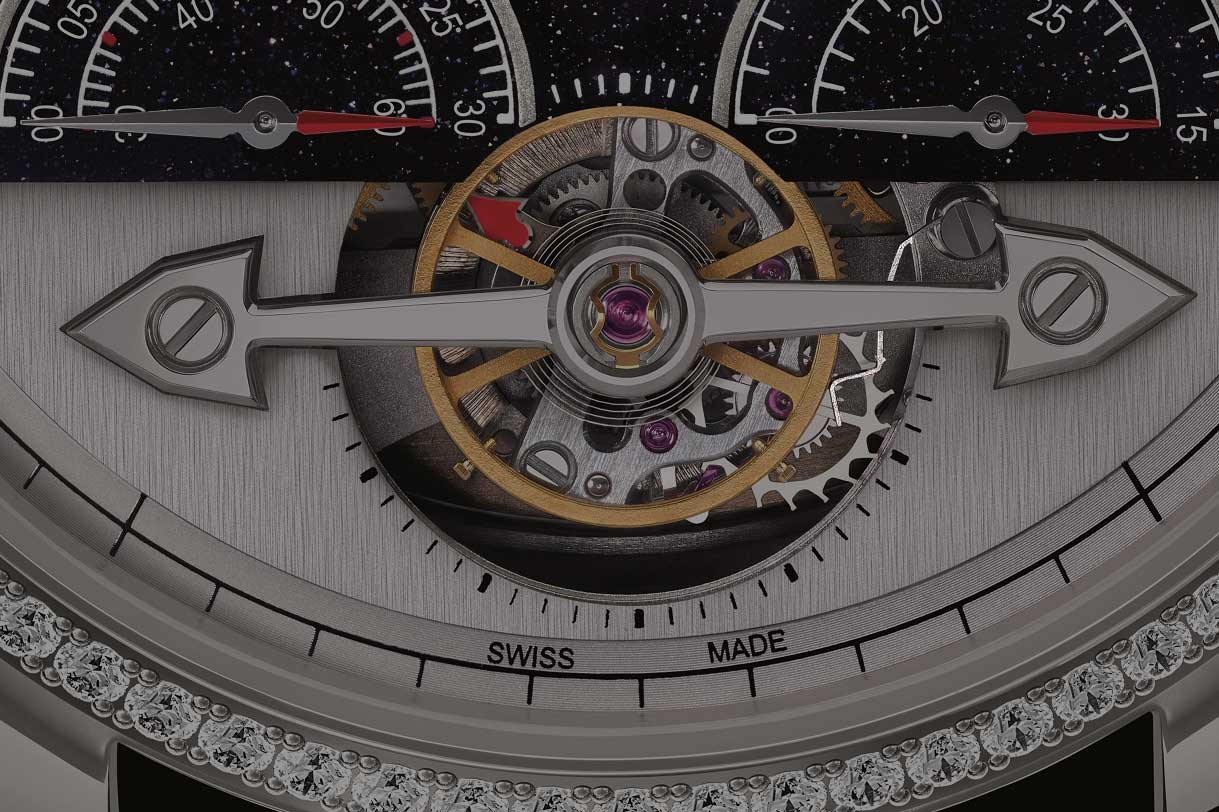 Highlighted here is the stop level arm that arrests the balance wheel on Montblanc's Exotourbillon (Image: Montblanc)