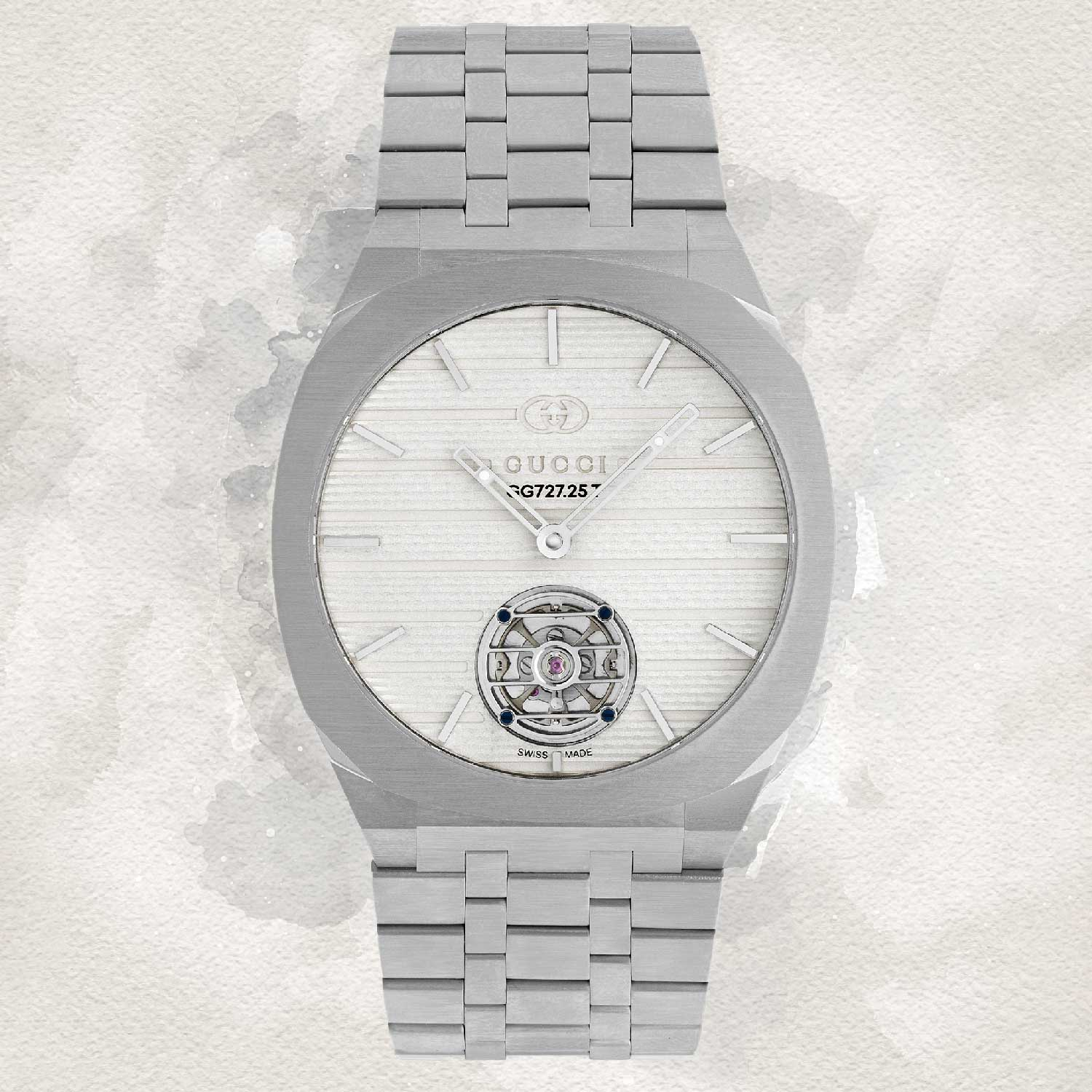 Gucci 25H in platinum featuring the ultra thin 3.7mm automatic movement with tourbillon complication